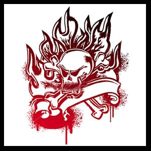 Uncolored Skull On Fire Tattoo Sample