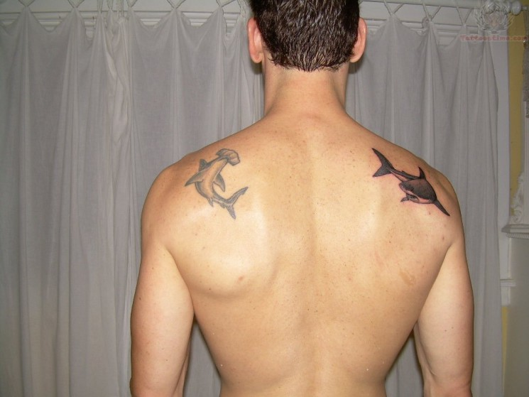 Unforgettable Hammerhead Shark Tattoo On Back Shoulder