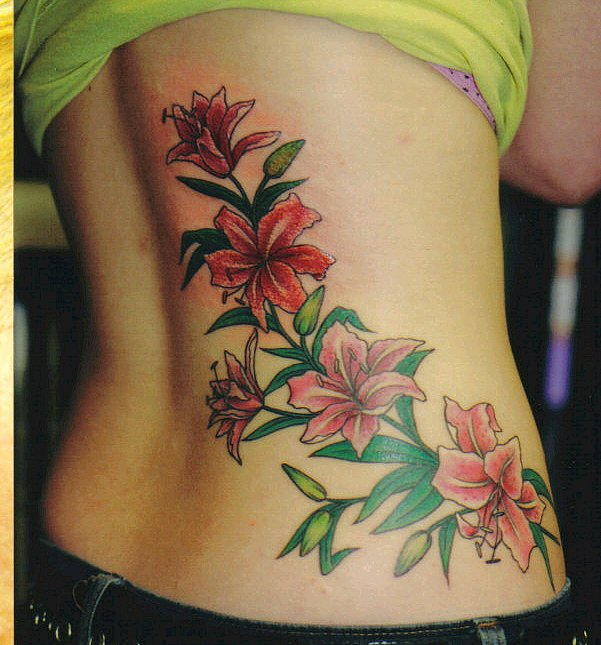 Unique Red Tulip Flower Tattoo On Belly