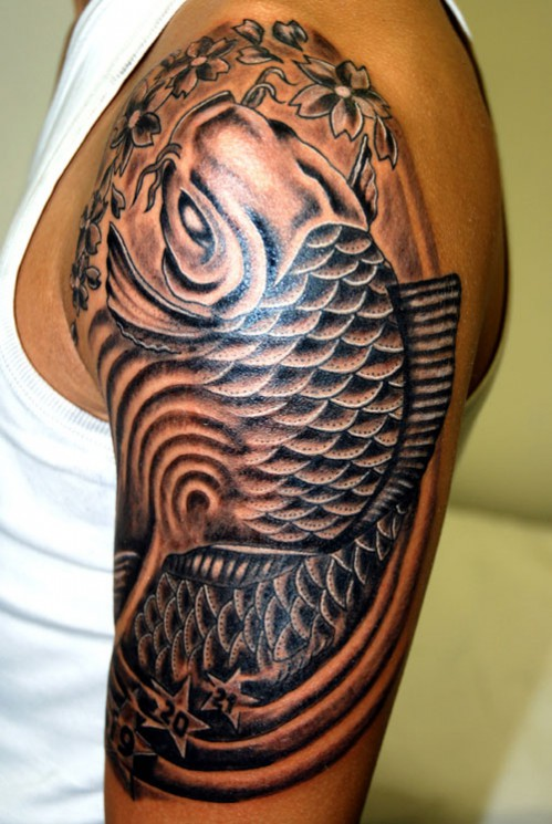 Upper Arm Koi Fish And Lotus Tattoo Design