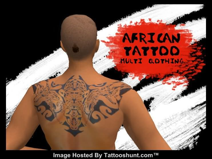 Upper Back African Mask Tattoo Picture