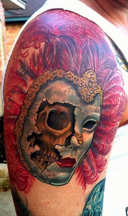 Venetian Mask And Flower Tattoo On Back Shoulder