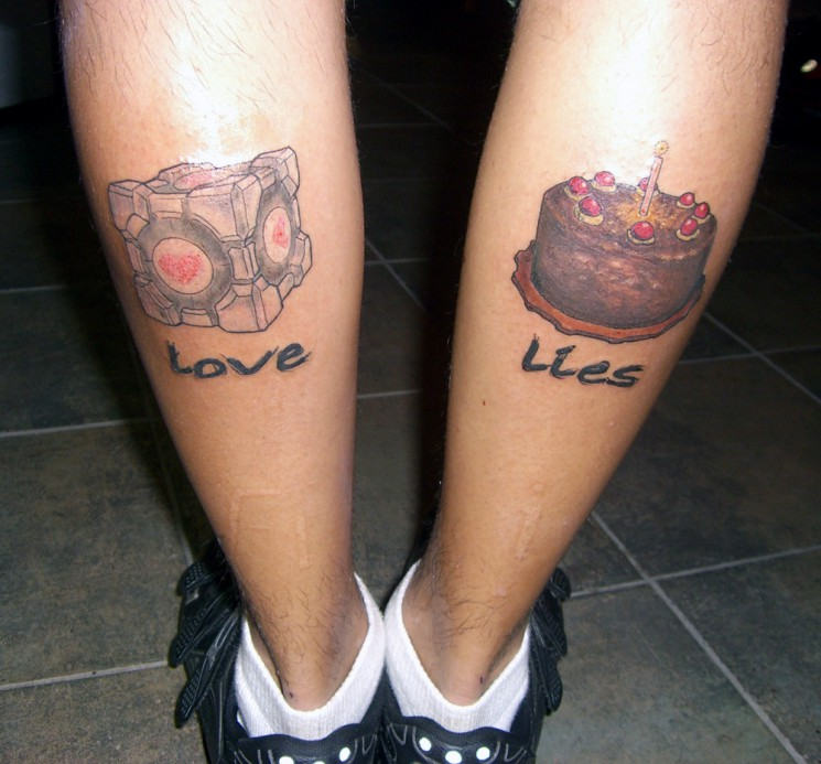 Video Game Tattoos On Both Legs