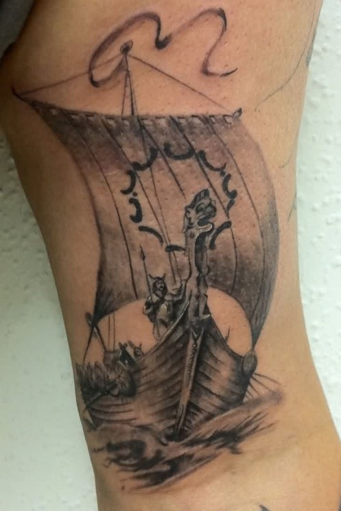 Viking Ship With Flag Tattoo On Foot