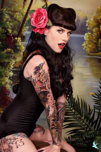 Vintage Pin Up Tattoo On Side