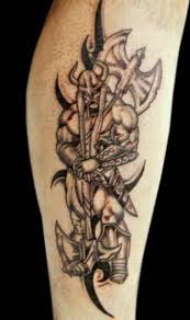 Warrior Viking With Axe Tattoo On Biceps