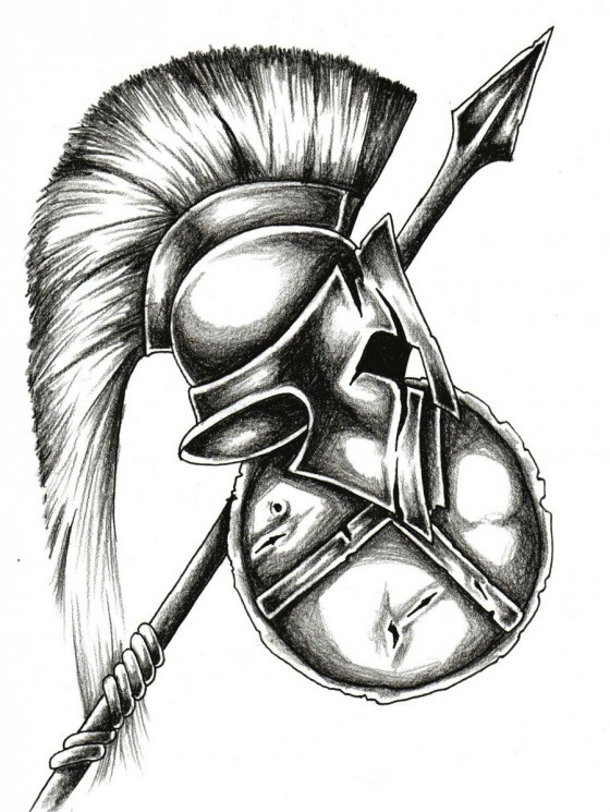 Warriors Helmet Shield And Weapon Tattoos