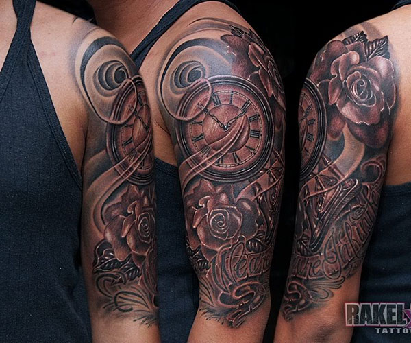 Watch And Roses Half Sleeve Tattoos