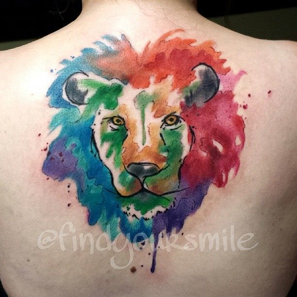 Water Color Lion Head Tattoo On Back