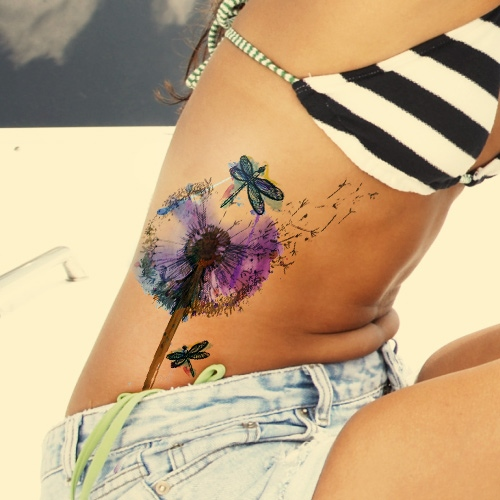 Watercolor  Dandelion Seed Tattoos
