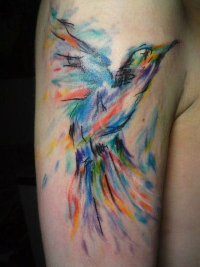 Watercolor Birds And Animal Tattoos Images