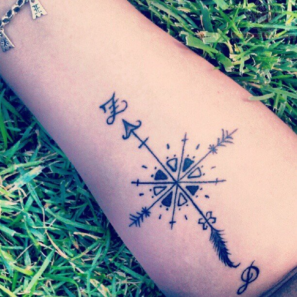 Watercolor Compass Tattoo On Hand
