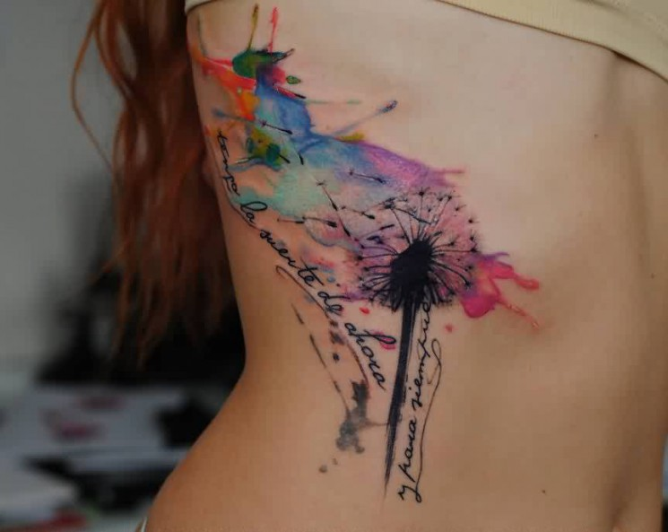 Watercolor Dandelion Puffs And Dragonfly Tattoos