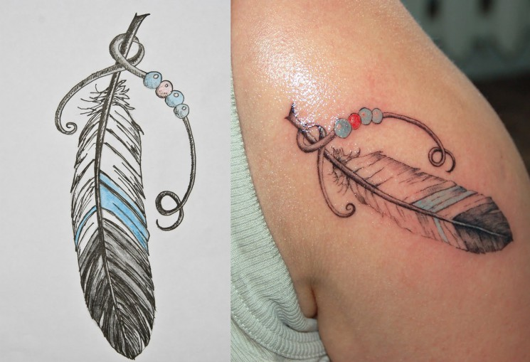 Watercolor Feather Tattoo Designs
