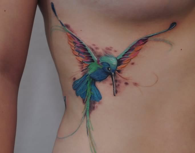 Watercolor Hummingbird Tattoo On Biceps in 2017: Real Photo ...