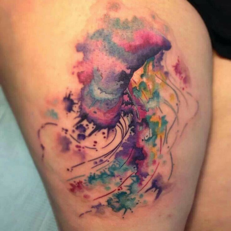Watercolor Jelly Fish Tattoo On Thigh