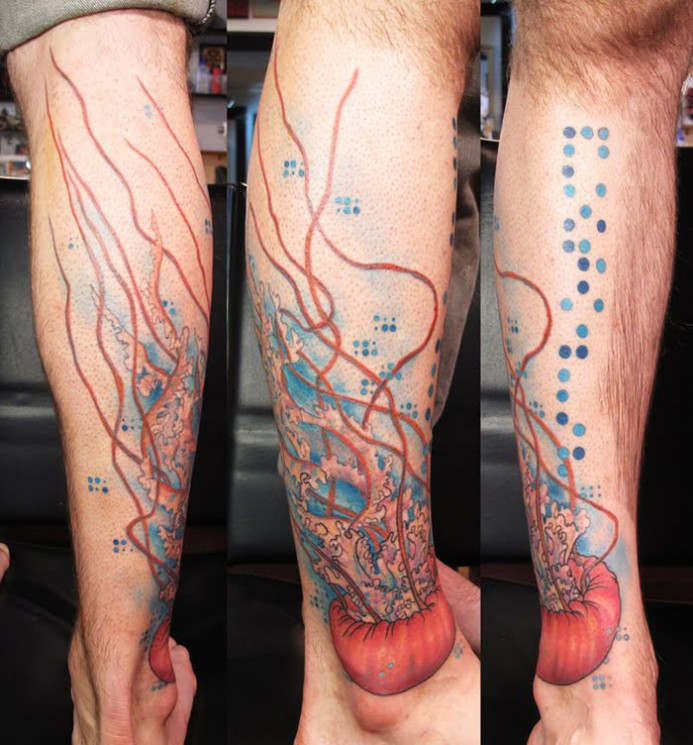 Watercolor Jellyfish Tattoo On Thigh