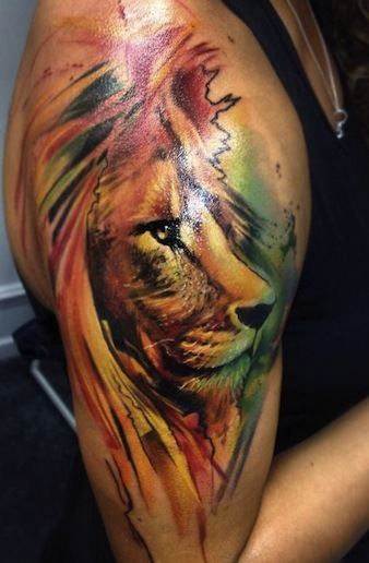 Watercolor Lion Tattoo On Biceps
