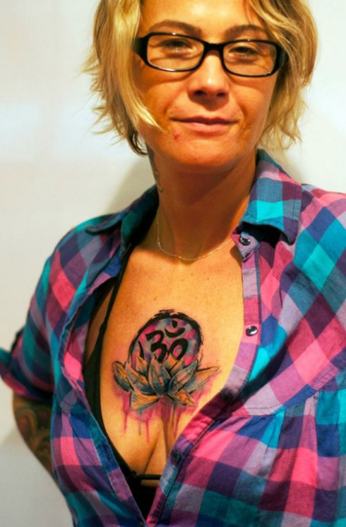 Watercolor Om Lotus Tattoo On Chest