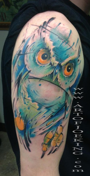 Watercolor Owl Tattoo On Shoulder