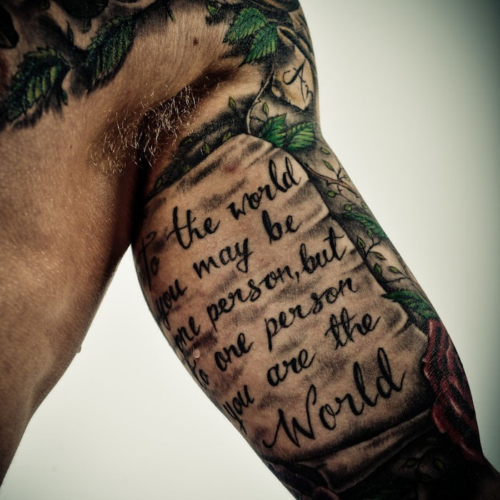 Watercolor Quote Tattoo On Arm