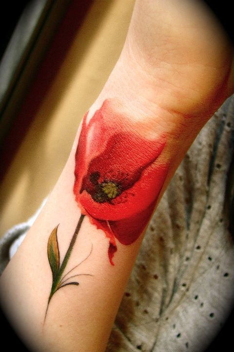 Watercolor Tattoo On The Spine