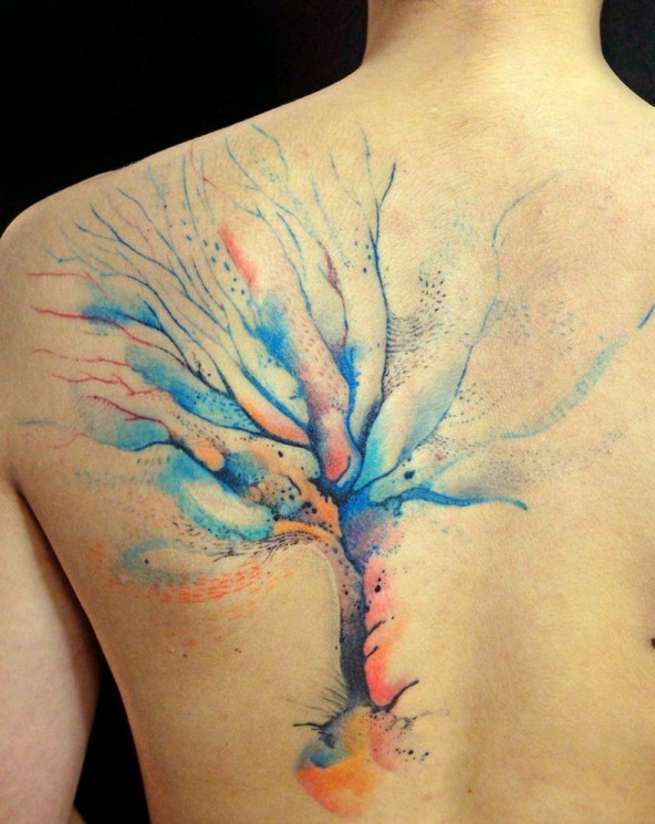 Watercolor Tree Tattoo On Whole Back