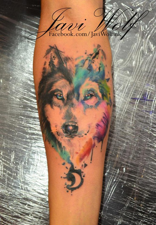 Watercolor Wolf Tattoo On Ribs
