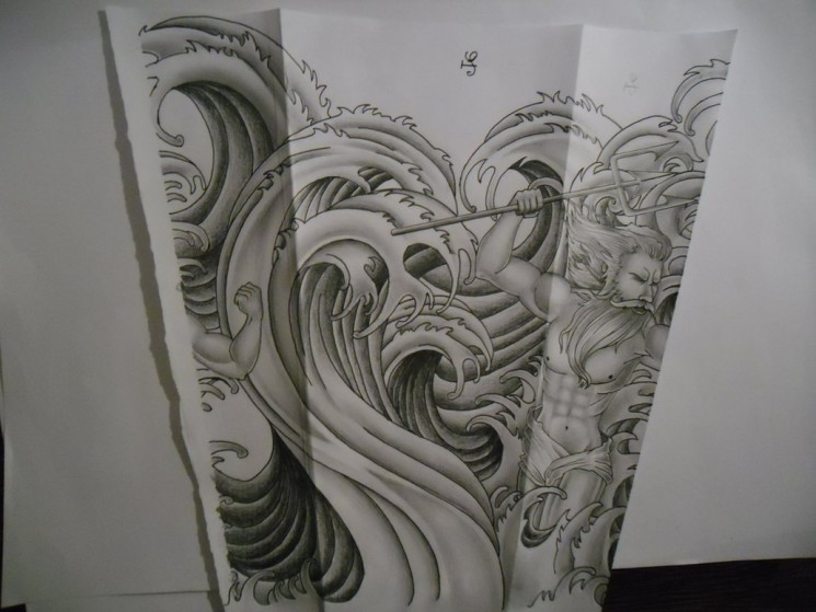 Waves And Fish Sleeve Tattoo Design