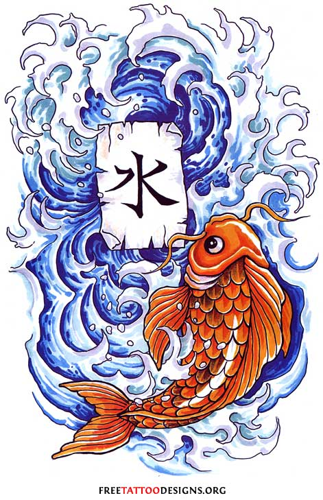 Waves And Koi Fish Pisces Tattoos