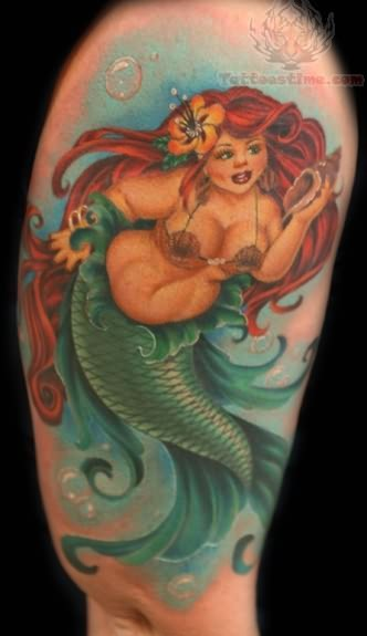 Waves And Seahorse Tattoos On Back Neck For Women
