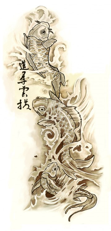 Waves And Tribal Tattoo Design