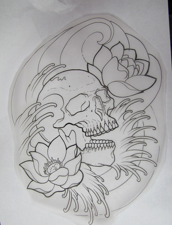 Waves Skull And Lotus Tattoos