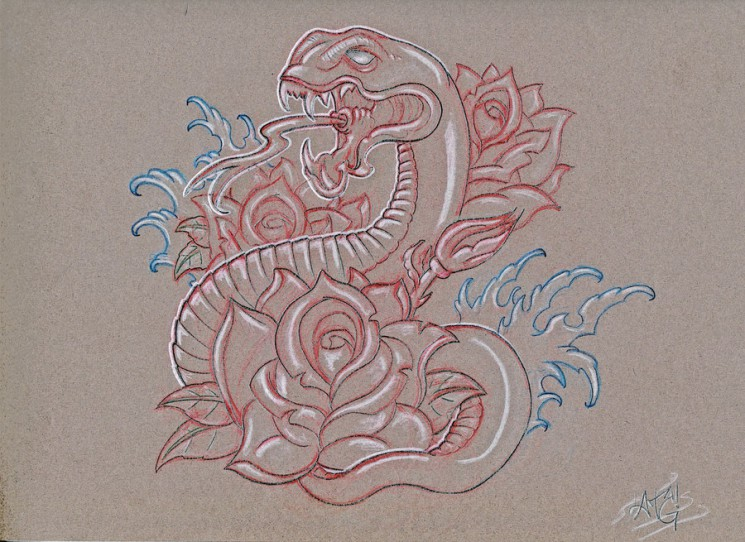 Waves Snake And Roses Tattoo Sketch