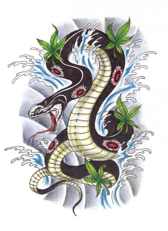 Waves Snake And Weed Leaves Tattoo Design