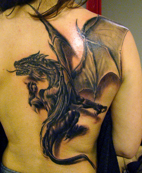 Western 3D Winged Dragon Tattoo On Back