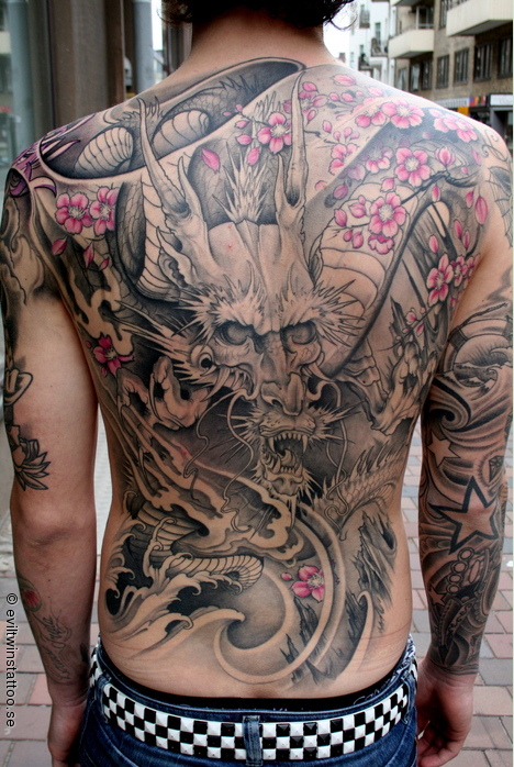 Western Angel Tattoo On Full Back