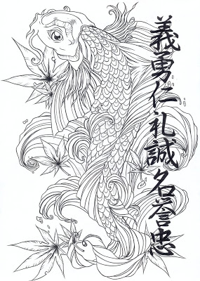 Western Koi Fish And Flowers Tattoos