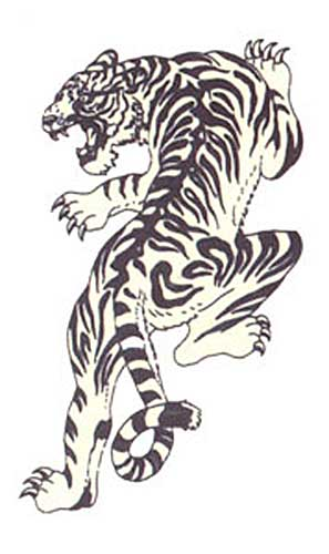 White Angry Tiger Tattoo Stencil