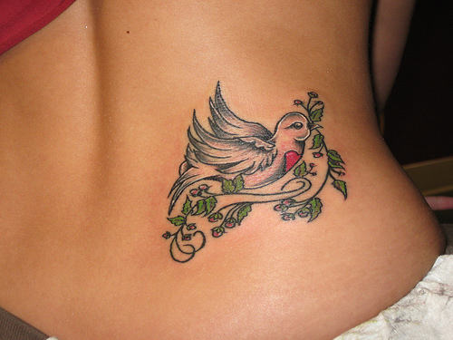 White Pigeon With Leaves Vine Tattoo For Women