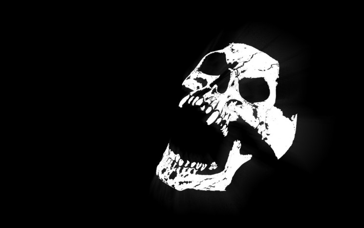 White Skull Tattoos On Black Background