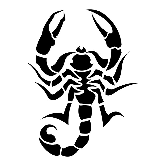 White Tribal Scorpion Tattoo Graphic