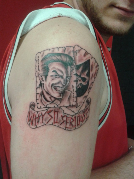 Why So Serious Joker Cards Tattoo On Arm
