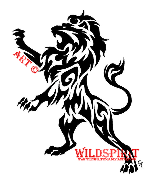 Wild Tribal Lion Tattoo Design