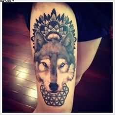 Wildlife Geometric Wolf Tattoo On Thigh