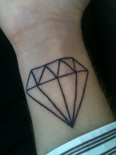 Winged Blue Diamond Tattoo On Back