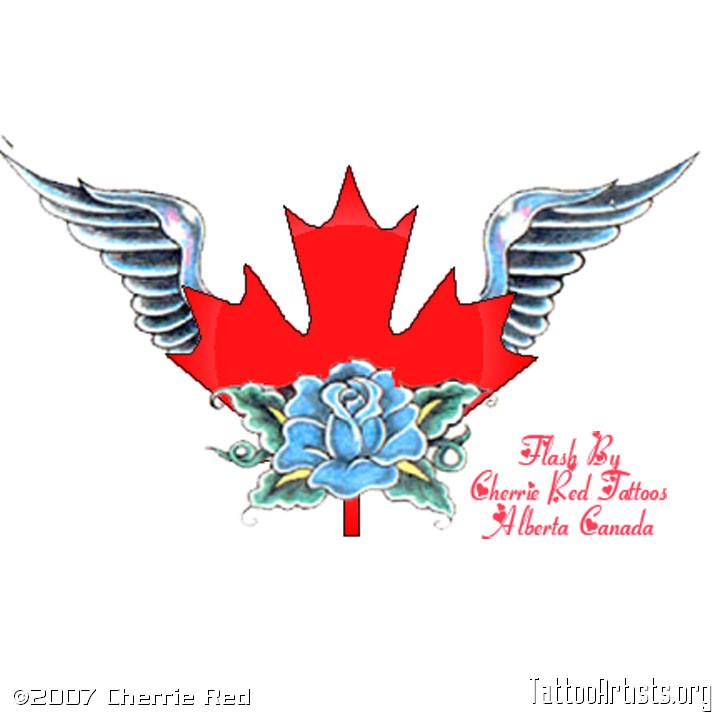 Winged Canadian Leaf Tattoo Design With Rose