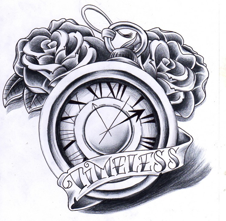 Winged Clock And Roses Tattoo Designs