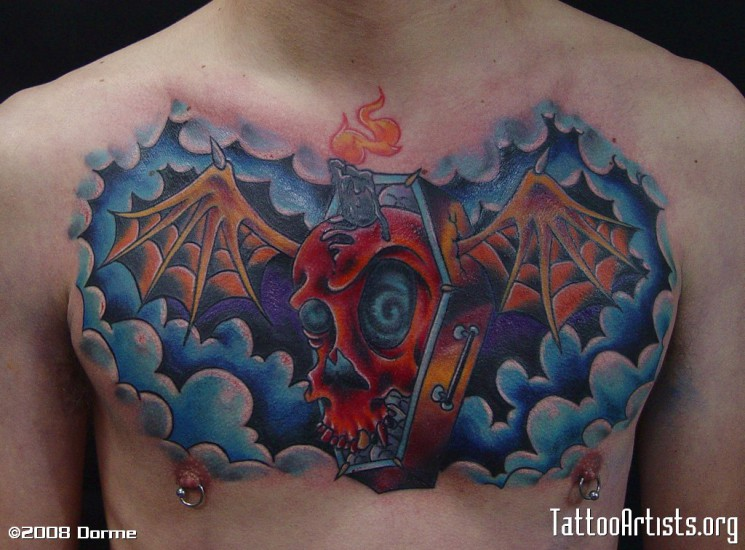 Winged Cofffin Tattoo On Chest