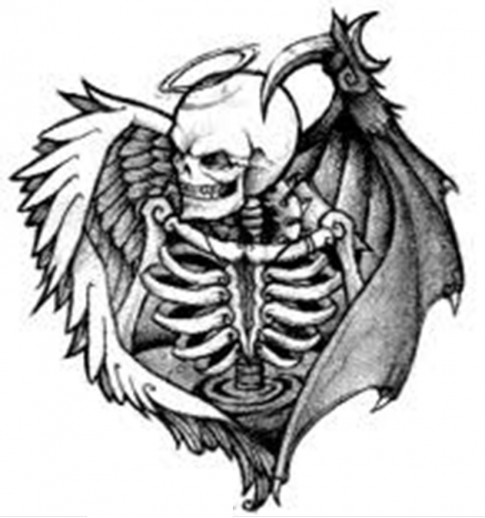 Winged Coffin With Roses Tattoo Design